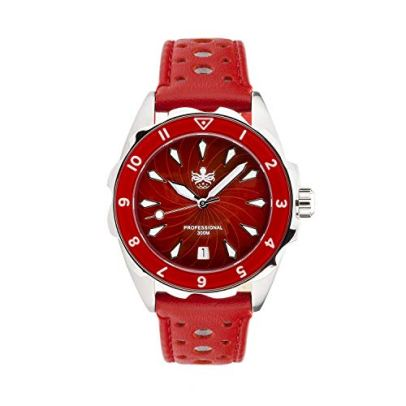 PHOIBOS SEA Nymph 300M Lady Diver Watch PX021 Women Sport Red