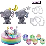 Vodolo (Set of 4) Elephant Cake Toppers - Star & Moon Resin Elephant with Little Elephant Cookie Cutter Fondant Mold for Girls Boys Kids Birthday Party Baby Shower Cupcake Decorations