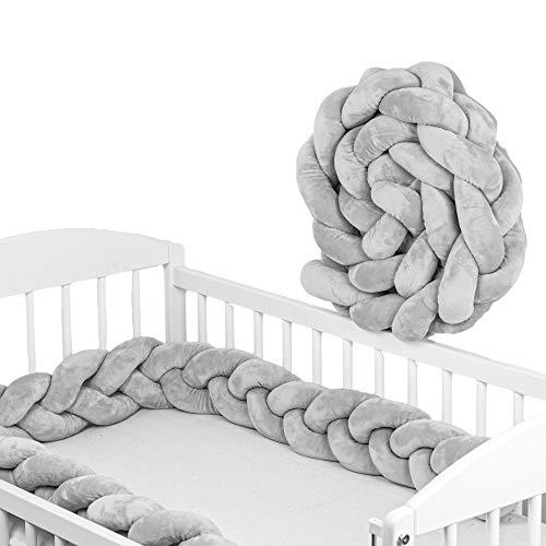 tour de lit bebe - tour de lit tresse bebe fille et les garçon coussin serpent bébé (Gris, Tresse à trois brins - 220 cm)