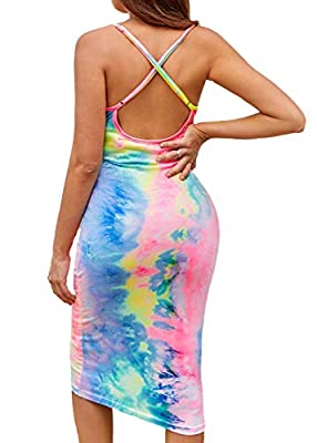 Made of stretch,lighweight and breathable fabric for a comfortable fit Features adjustable strap,backless,below knee length ,sleeveless slip dress Eye-catching rainbow tie dye color,slim fit to showing your body curve Made for everyday layering,these...
