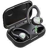 Auriculares Inalambricos Bluetooth 5.1 Deportivos, IPX7 Impermeable Cascos Inhalabricos Sport con 2 Tipos Ganchos de Oído, Sonido Estéreo Auriculares In Ear, Carga Rápida USB-C, para Correr, Deporte