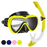 SwimStar Snorkel Set for Women and Men, Anti Fog Tempered Glass Snorkel Mask for Snorkeling, Swimming and Scuba Diving, Anti Leak Dry Top Snorkel Gear Panoramic Silicone Goggle No Leak Yellow