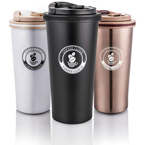 Coffee Cloud Edelstahl Kaffeebecher 500ml | Doppelwandig vakuumisolierter Travel Mug | Thermobecher aus Edelstahl | Isolierbecher BPA Frei, Leicht & Auslaufsicher (Schwarz)