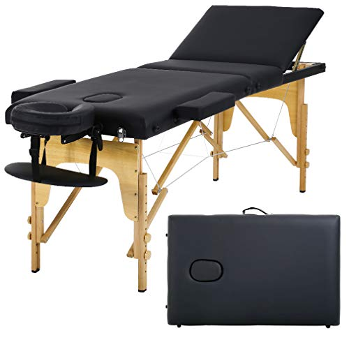 Massage Table Massage Bed Spa Bed 73 Long 24 Wide Portable Massage W/Carry Case Table Heigh Adjustable Salon Bed Face Cradle 3 Fold Bed