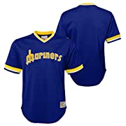 100% Polyester mesh jersey fabric Tackle twill wordmark graphic - Woven jock tag Team color striped sleeve cuffs and collar Officially licensed by the MLB Youth boys sizing: Small (8), Medium (10-12), Large (14-16), X-Large (18-20)