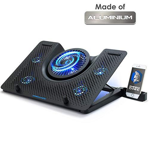 EMPIRE GAMING - Turboost Refroidisseur PC Ordinateur Portable Gamer en Aluminium - 5 Ventilateurs - Support ventilé 12 à 17 Pouces - 5 Hauteurs – Rétro LED Bleu