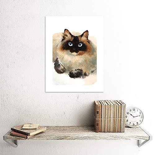 Wee Blue Coo Cat Ragdoll Face Watercolour Art Print Canvas Premium Wall Decor Poster