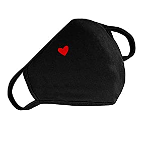 Pack of 1 face cover with cute heart pattern Features 1 - Soft and comfortable double-layer cotton fabric Features 2 - Washable, Reusable,and can be folded for easy carrying Features 3 - fashion design style Fashion Gift - You can also send Face Cove...