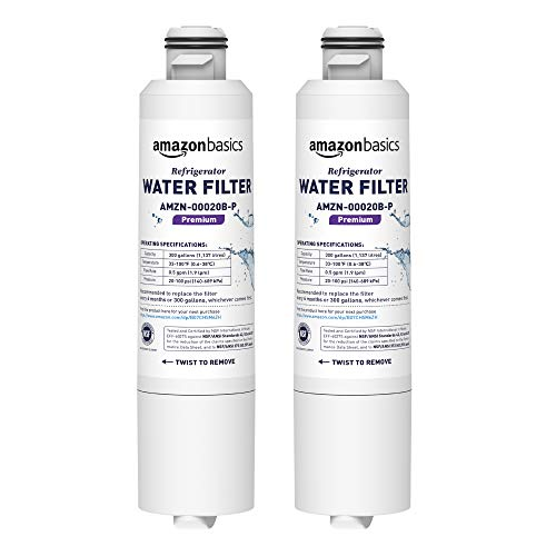 AmazonBasics Replacement Samsung DA29-00020B Refrigerator Water Filter Cartridge - Pack of 2, Premium Filtration