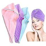 Turban en Microfibre pour les Cheveux, 3 Pcs Super Absorbant Serviettes de Bain...