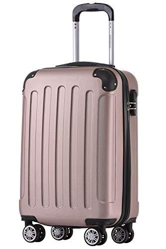 BEIBYE Hartschalen-Koffer Trolley Rollkoffer Reisekoffer Handgepäck 4 Rollen (M-L-XL-Set) (Rosa Gold, M)