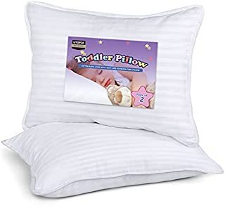 TODDLER PILLOW PACK - Pack of 2 toddler pillows made with the perfect blend of softness and firmness to ensure a perfect night's sleep for your toddler DIMENSIONS - Each toddler pillow measures 13 by 18 inches DURABLE - 250 Thread Count, Cotton blend...