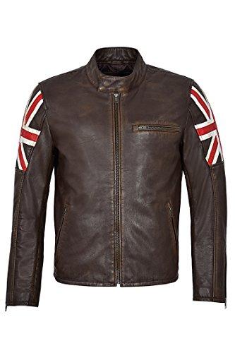 Smart Range Chaqueta de Cuero 2525 Cafe Racer Vintage Brown Distressed Union Jack Biker (XL)