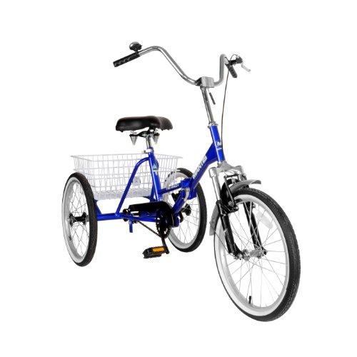 Mantis 67520 Tri-Rad Folding Adult Tricycle, 20 inch Wheels, 16 inch Frame, Unisex, Blue