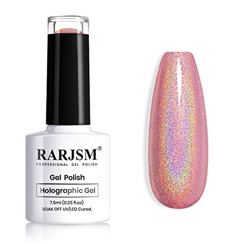 RARJSM Holographic Nail Polish Rose Gold Gel Nail Polish with Mermaid Unicorn Effect Glitter Gel Nail Polish RAR73 Suitable for Spring Summer