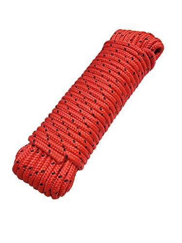 Seil 8 mm 20 m - Polypropylenseil PP, Festmacherleine, Allzweckseil, Strick, Gartenseil, Outdoor - Bruchlast: 700kg, 20m x 8mm rot-schwarz
