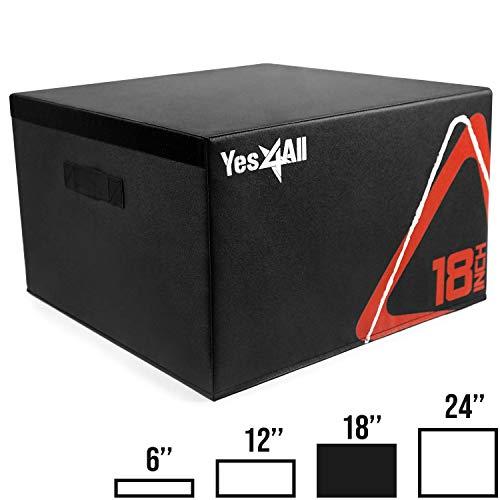 Yes4All Soft Plyo Box/Plyometric Jump Box  Adjustable Plyo Box/Foam Plyo Box for Jump Training, Fitness and Conditioning (18 inch, Black)