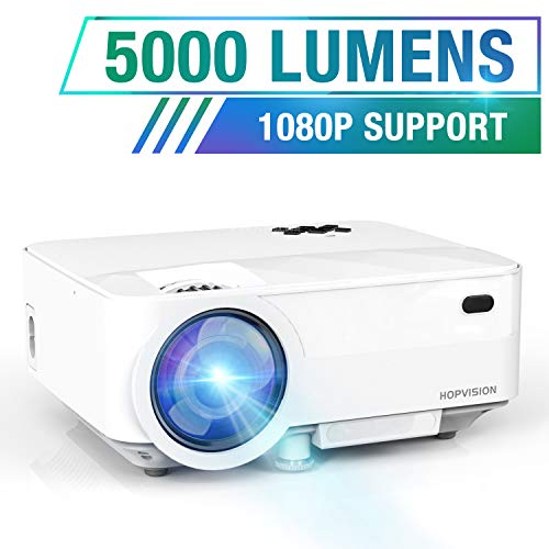 HOPVISION Mini Beamer 1080P Full HD,5000 Lumen Video Beamer mit Maximalem 180\'\' Display,60000 Stunden Lampenlebensdauer, Heimkino Beamer Kompatibel mit HDMI/AV/USB/SD/VGA