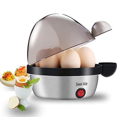 Sweet Alice Eierkocher, Edelstahl Eierkocher Testsieger für 1-7 Eier mit Härtegradeinstellung, Indikationsleuchte Abschaltautomatik,Überhitzungsschutz, Messbecher, BPA-frei