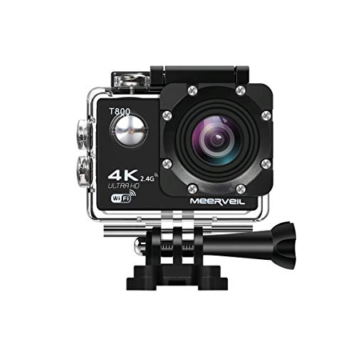Meerveil 4K Action Camera Action Cam Videocamera WiFi Sport Camera, Sony Sensore CMOS da 16 MP, 2 Batterie 1050mAh, Valigetta, Kit Accessori Completi