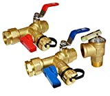 HQMPC Tankless Water Heater Isolation Valves Tankless Water Heater Flush Kit Lead Free Tankless Valve Kit 3/4' NPT, Including 1 Valve For Hot water,1 Valve For Cold Water, 1 Pressure Relief Valve