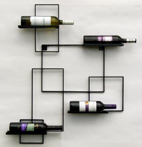 DanDiBo Scaffale Vini a Parete Black Line Supporto Bottiglie in Metallo 90 cm Scaffale a Parete Porta Bottiglie