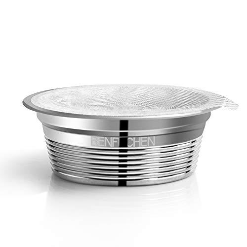 Walmeck- Benfuchen Capsule di caffè riutilizzabili riutilizzabili in Acciaio Inossidabile compatibili con LAVAZZA A Modo Mio Filtro per Tazza di caffè con Foglio di Alluminio da 60 Pezzi