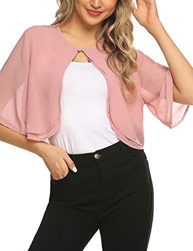 SoTeer Women's Short Sleeve Cropped Cardigans Open Front Bolero Shrugs for Dresses, Pink, M