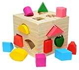 Shape Sorting Cube Toys With 13 Pcs Wooden Blocks, colorful Sorter Game Toddler Grip solid Build Toy Preschool Educational Learning Game To Baby, A Birthday Gift To Boys Girls Age 2 3 4 (Wooden Toy)