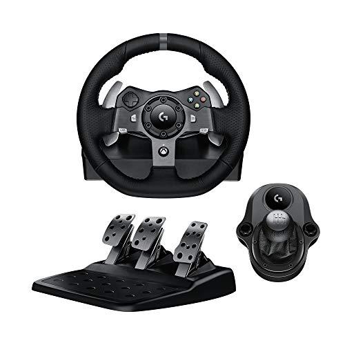 Logitech G920 Driving Force Volant de Course avec Levier de Vitesse Pédales Retour de Force Réaliste Palettes au Volant en Acier Inoxydable, Rotation du Volant à 900°, Prise EU, Xbox One/PC - Noir