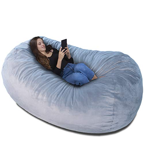 Poltrona-sacco Bean bag XXL Velluto Grigio Argento Rivestimento con imbottitura memory- Un letto enorme, un grande divano, un materasso dove rilassarsi bambini adulti e ragazzi la adorano!