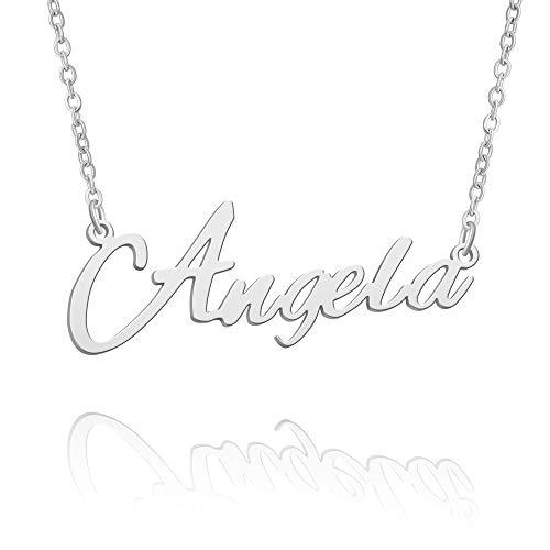 BUREI Collar con Nombre, Gran Inicial, Plata, joyería para Mejores Amigos, Regalos para Mujeres, para Ella, Angela