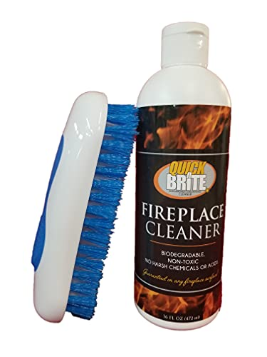 Quick N Brite Fireplace Cleaner with Cleaning Brush for Brick, Stone, Tile, Rock, Soot, Smoke, Creosote, and Ash, 16 oz, 1-Pack