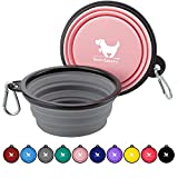 Rest-Eazzzy Collapsible Dog Bowls for Travel, 2-Pack Dog Portable Water Bowl for Dogs Cats Pet Foldable Feeding Watering Dish for Traveling Camping Walking with 2 Carabiners, BPA Free
