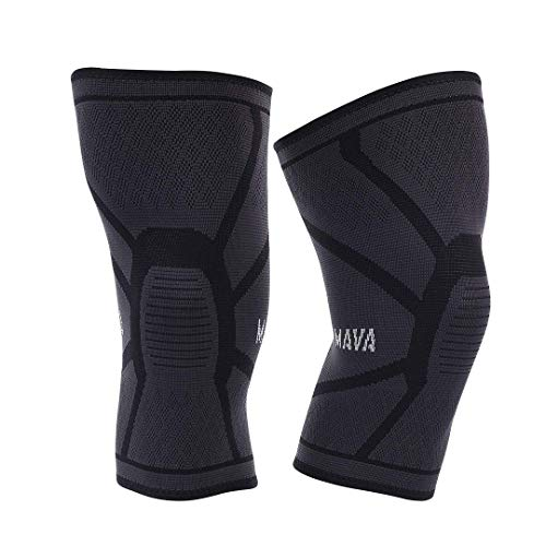 Mava Sports Knee Compression Sleeve Support for Men and Women - Perfect for Powerlifting, Weightlifting, Running, Gym Workout, Squats and Pain Relief - (Black, Small)..