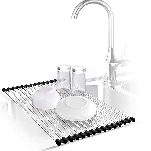 Urwanti Dish Drying Rack Over The Sink Roll Up Stainless Steel...