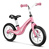 Balance Bike 12 in Aluminum Lightweight Training Walking Bicycle for Toddler and Kids Age 2 ,3,4,5 Years Girls