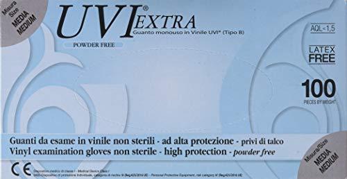 Gima - UVI Extra, Guanti in Vinile, Senza Polvere, Misura Media, Dispenser da 100 Guanti