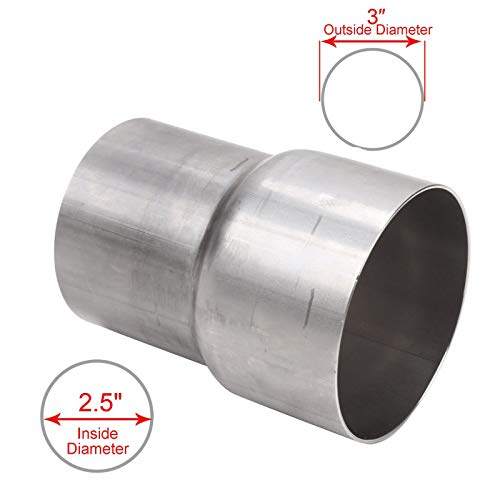 BETTERCLOUD Universal 2.5' ID to 3' OD Exhaust Pipe Adapter Connector Reducer Mild Steel
