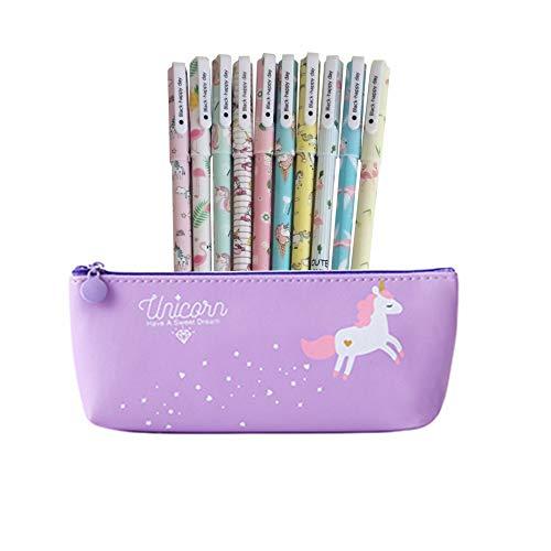 Unicorno Penne,Southstar 10 Unicorno Penne di Colori e 1 Astuccio per Matita Unicorno per Amanti dei...