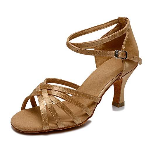 VASHCAME-Zapatos de Baile Latino de Tacón Alto/Medio para Mujer Marrón 36 (Tacón-7cm)