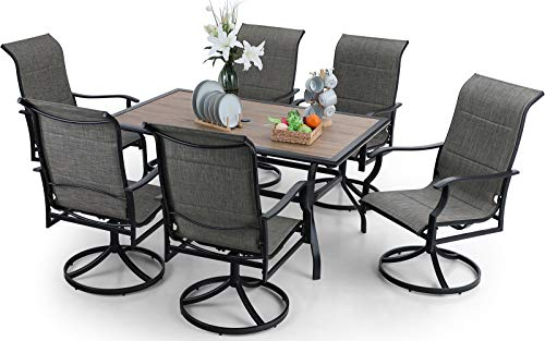 PHI VILLA 7 Piece Patio Dining Set, 6 Metal Swivel Dining Chairs Padded with Fast-Dry Foam & 1 Metal 60'x38' Rectangle Wood-Like Dining Table Clearance for Garden Pool & Deck