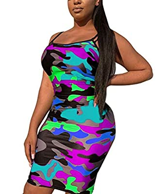 Women Camouflage Mini Dress Strap Sleeveless Ruched Bodycon Pencil Dresses Sundress Summer Beach MATERIAL - 70% Polyester ,smooth, soft and stretchy, very comfortable to wear FASHIONAL ONE PIECES DRESS - scoop neck,spaghetti strap,sleeveless,color bl...