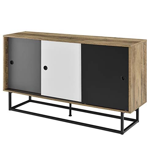 [en.casa] Mobile TV 140 x 35 x 80 cm Comodino con Porte scorrevoli Metallo MDF Bianco/Grigio/Nero