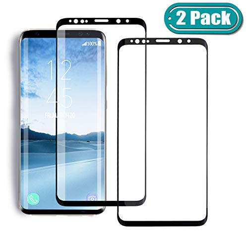 [2 Pack] MSLAN Samsung Galaxy S8 Screen Protector,3D Curved Tempered [Anti-Bubble][9H Hardness][HD Clear][Anti-Scratch][Case Friendly] Glass Screen Film Compatible Samsung Galaxy S8 Black
