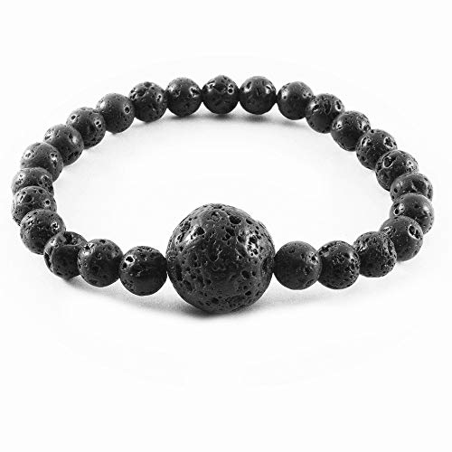 Anti Nausea Wristband, Motion Sickness and Morning Sickness Relief, Acupressure Wristband, Push Bead Into Wrist, Seasickness, Car Sickness, Helps Vertigo and Dizziness, Lava Rock Obsidian Bracelet