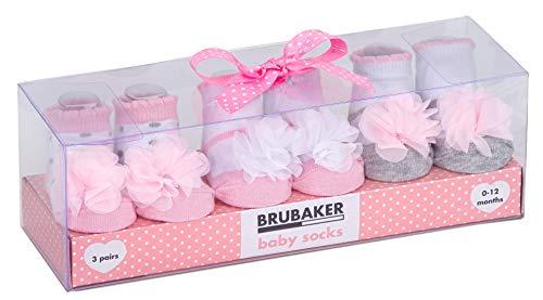 BRUBAKER 3 paia di scarpette per neonati da 0-12 mesi - scarpette femminuccia design ruches e puntini in tulle
