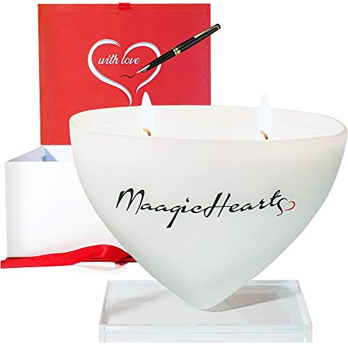 MaagicHearts Organic Scented Soy Candles for Women, Heart Shaped Gifts for Girlfriend, Luxury Unique Birthday Presents for Women, Love Romantic Gifts for her, Sweet Orange & Cinnamon Scent