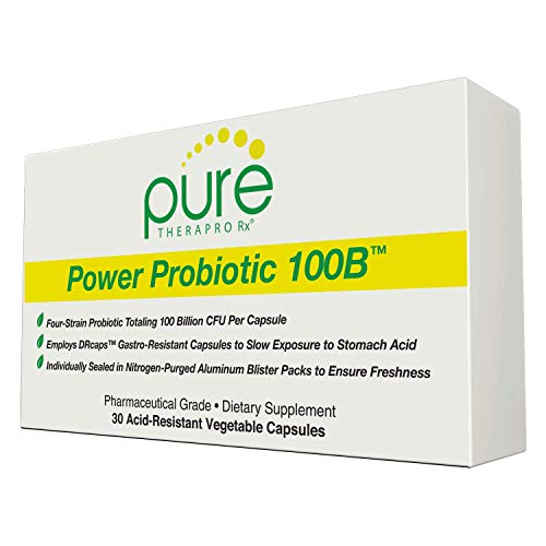 Power Probiotic 100B - 30'Acid-Resistant' VCaps | 4 Proven Strains - 100 Billion CFU Per Capsule | Sealed in Nitrogen-Purged Aluminum Blister Packs to Insure Freshness | NO Refrigeration Required