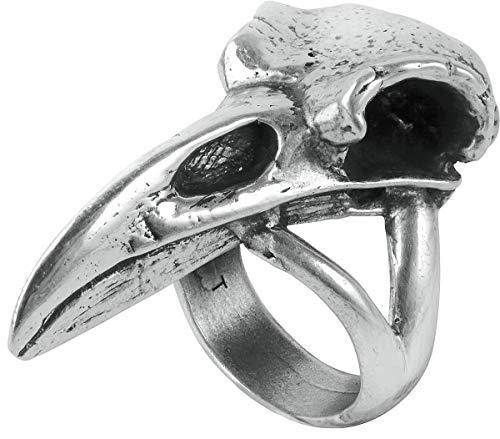 Alchemy Gothic Raven Skull Women Ring Silver-Coloured, (Jewellery)